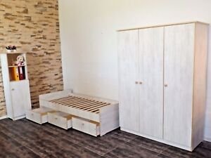 Jugendzimmer Kinderzimmer  komplett Set Schrank Standregal JugendBett weiß rosa
