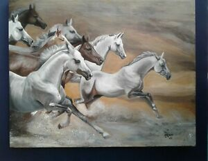 8 Chasing Horse Oil On Canvas Painting