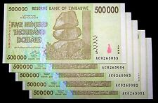 5 x Zimbabwe 500000(500,000) Dollar banknotes-paper money currency-About UNC