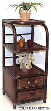 Handmade Bookcase Designer Rattan Wicker w/ 2 Drawers 3 Shelves Color Dark Brown
