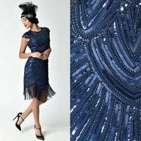 US STOCK 1920s Gatsby Navy Cap Sleeve Beaded Fringe Sequin Deco Flapper Dress