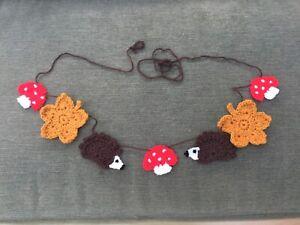 🦔🍄 🍁Handmade crochet autumn Bunting Garland -  Nursery Decor Rustic 🍁🍄🦔