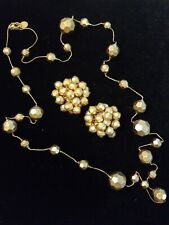 Vintage ANN KLEIN courture Golden Beaded Necklace Earings Set