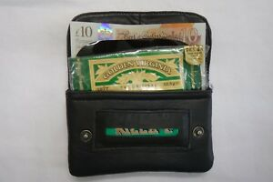 Soft Leather Tobacco Pouch Organizer with Space for Paper Money Small Black