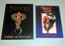 2 book CHRIS ACHILLEOS ARTIST SIRENS BEAUTY BEAST SCIENCE FICTION FANTASY DR WHO