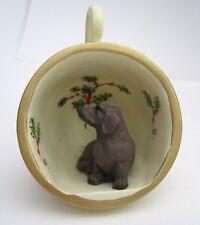2005 Dachshund Doxie Dog Pup Figurine Mini Poinsettia Coffee Mug Ornament Resin