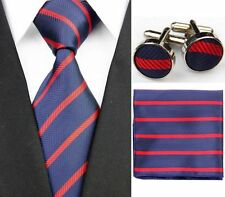 Navy Blue with Red Stripes 100% Pure Silk Neck Tie Cufflink and Handkerchief Set