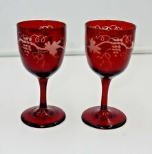"x2) ANTIQUE BOHEMIAN CZECH RUBY RED CUT GRAPE & LEAF 4-7/8"" CRYSTAL WINE GLASSES"