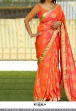 Orange Color Silk Jacquard Fabric Heavy Party Wear Designer Blouse saree Kt 3191