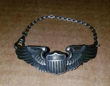 WW2 ERA ARMY AIR CORP PILOT WINGS SWEETHEART BRACELET - LGB STERLING