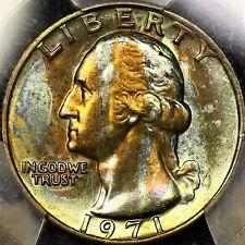 Tough Date Strangely Toned PCGS MS65 1971 P Washington Quarter Blue Copper Color