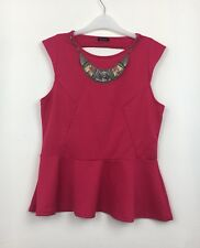 River Island Pink Textured Peplum Top With Low Back & Clip On Necklace Sz 16 B16