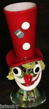 "MURANO ART GLASS CLOWN VASE RED HAT 8"" Tall Italy vintage unique figural"