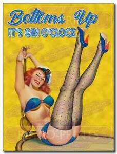 BOTTOMS UP IT'S GIN O'CLOCK  Retro Funny Metal Wall Sign, Lady Cave Print Plaque