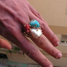 Stunning Victorian Style Coral & seed Pearl silver gold cluster ring ADJUSTABLE