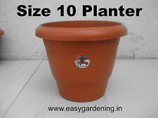 "Easy Gardening 10"" Gardening Pots-Terracotta Color Plastic Planter (Pack of 12)"