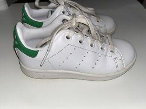 ⭐Adidas Boys Originals White Stan Smith White Sneaker Shoes Size 11 K ⭐️