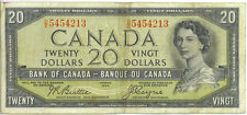 Bank of Canada 1954 $20 Twenty Dollars Devil's Face Portrait D/E Prefix VF