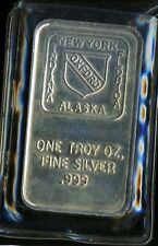 Vintage 1 Troy oz Ounce .999 Fine Silver Oxford Art Bar New York Alaska Florida