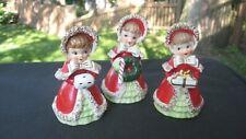 Vintage Set 1950's Lefton Japan Christmas Shopper Girl Spaghetti Bell Figurines