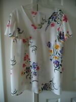 Old Navy Off White Cream & Multi Floral Rayon Ruffle Sleeve Blouse Top XXL 20 2X