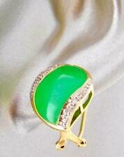 14K YELLOW GOLD GENUINE FINE GREEN JADE DIAMOND OMEGA BACK EARRINGS