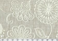 Beige Embroidered Floral Sheer Drapery Fabric P Kaufmann Fiona CL Linen