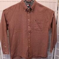 Tommy Hilfiger Button Down Shirt Men's Size XL Long Sleeve Red Gingham Flag Logo