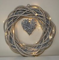 Vintage Willow wreath with  Heart 30 cm diameter 20 LED lights free batteries