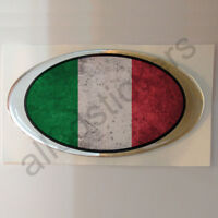 "Sticker Italy Oval Flag Vintage Grunge 3D Resin Domed Stickers 3.93""x2.16"""