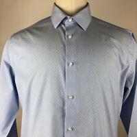 Calvin Klein SlimFit NoIron Mens Blue Button Up/Collar Dress Shirt Size XL 34/35