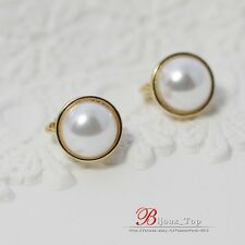 Boucles d'Oreilles Clips Doré Demi Perle Blanc Class Retro Vintage J1