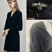 NEW MASSIMO DUTTI Size 10 38 Navy Blue Pleat Detail Belted Shirt Dress RRP £89