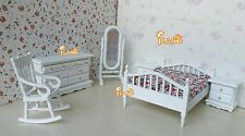 Dollhouse Bedroom Furniture Set 6PCS Bed Rocking Chair Dressing Mirror Cabinet