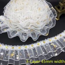 NEW DIY 3/5 Yards 3-Layer Flower Stars Lace Gathered Pleated Sequined Trim Craft