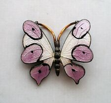 Antique Vintage Cloisonne Enamel Sterling Silver Butterfly Brooch Pin 4.8 grams
