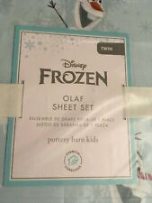 Pottery Barn Disney Organic Frozen Sheet Set Twin White Light Blue 100% Cotton