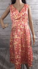 Merona Party Dress Size 6 Pastel Orange Pink Floral Print Summer Sundress Small