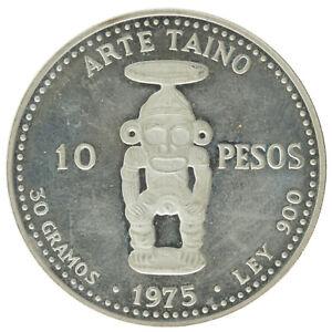 Dominican Republic - Silver 10 Pesos Coin - 'Viejo Mine' - 1975 - Proof