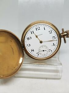 Vintage gold plated full hunter Waltham mass pocket watch working