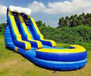 Commercial Grade Marble PVC Inflatable Blue Wave 15ft Water Slide 1.5HP Blower