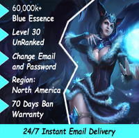 NA League of Legends Smurf Account LOL 60,000k+ BE + 30 SECOND EMAIL DELIVERY