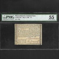 MA-283 MASSACHUSETTS COLONIAL CURRENCY $7 *NOT CANCELLED* MAY 5 1780 PMG 55