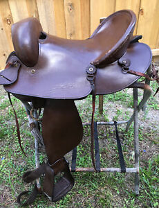 """King Series brown leather Western draft horse trail saddle 16"""" used"""