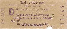 B.R.B. Rapidprinter Ticket - Birmingham New Street to Wolverhampton High Level