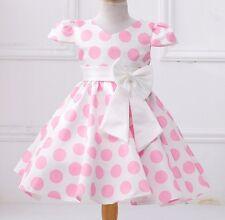 Little Girls Princess Dress Casual Puff Vintage Pink Polka Dot Bow Dress Size 2