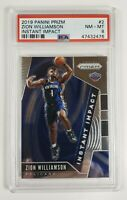 2019-20 Prizm INSTANT IMPACT Zion Williamson #2 Rookie RC - PSA 8