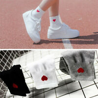 Cute Socks Women Red Heart Pattern Soft Breathable Kawaii Cotton Sock Ankle-High