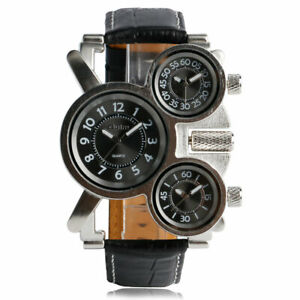 OULM Watches Multi-Function Leather Band Three Time Zones Men Quartz Wrist Watch