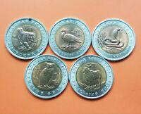 5 coins x RUSSIA 5 RUBEL 1991 + 10 RUBEL 1992 FAUNA BIMETAL WILDLIFE Russland